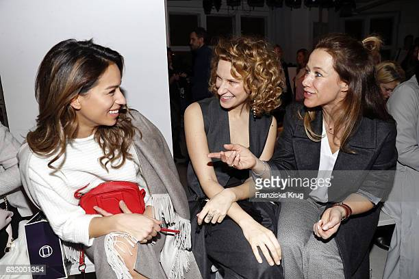 Gizem Emre, Chiara Schoras and Alexandra Neldel attend the Laurel show during the Mercedes-Benz Fashion Week Berlin A/W 2017 at Kaufhaus Jandorf on...