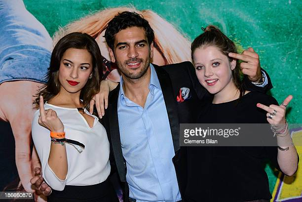 Gizem Emre Elyas M'Barek and Jella Haase attend the 'Fack Ju Gohte' Berlin Premiere at CineStar on November 2 2013 in Berlin Germany
