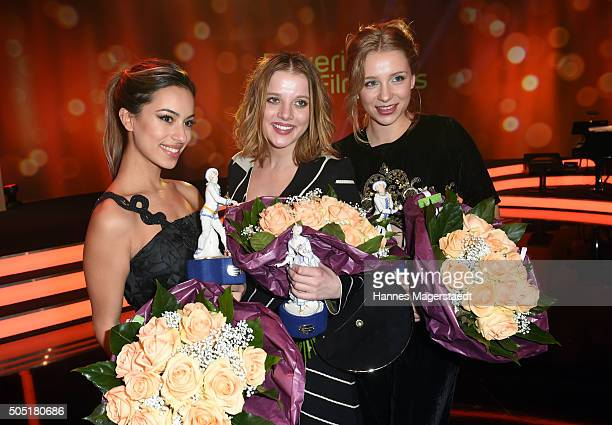 Gizem Emre, Jella Haase and Anna Lena Klenke during the Bavarian Film Award 2016 show at Prinzregententheater on January 15, 2016 in Munich, Germany.