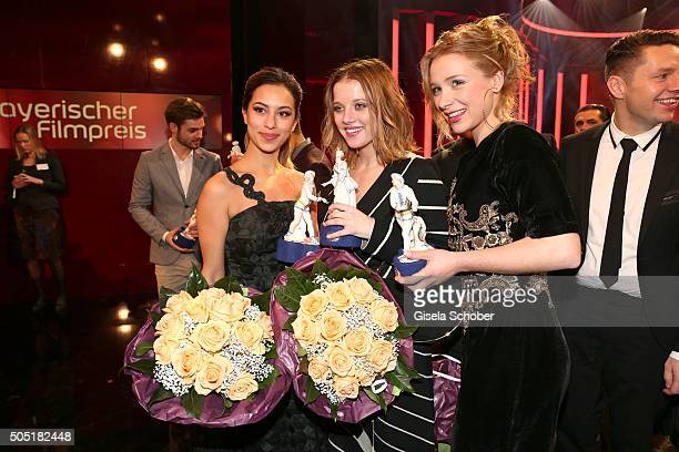 Gizem Emre, Jella Haase and Anna Lena Klenke with award during the Bavarian Film Award 2016 at Prinzregententheater on January 15, 2016 in Munich,...
