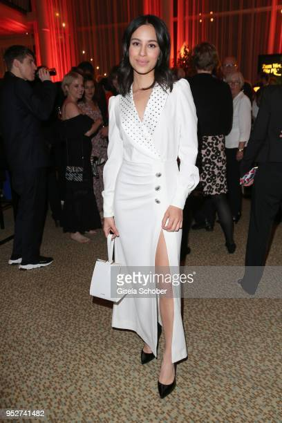 Gizem Emre wearing a white dress during the Lola German Film Award Party at Palais am Funkturm on April 27 2018 in Berlin Germany