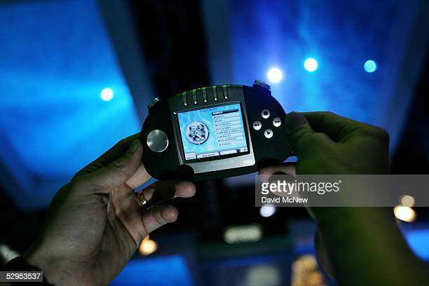 Gizmondo handheld device made by Tiger Telematics is shown at the 11th annual Electronic Entertainment Expo on May 19 2005 in Los Angeles California...