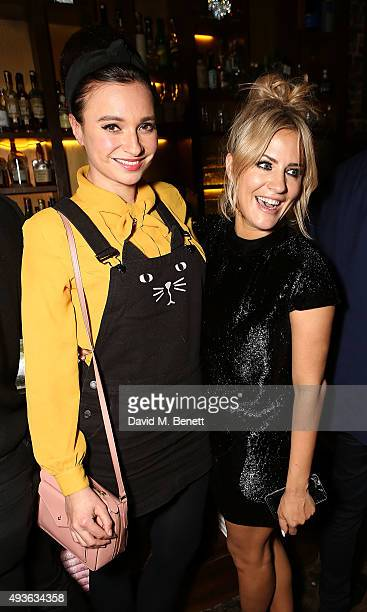 Gizzi Erskine and Caroline Flack attend the launch of Caroline Flack's new book Storm In A C Cup at Library on October 21 2015 in London England