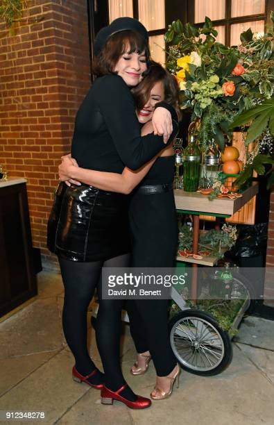 Gizzi Erskine and Caroline Flack attend the launch of The Tanqueray No TEN Table at Dalloway Terrace hosted by Gizzi Erskine on January 30 2018 in...