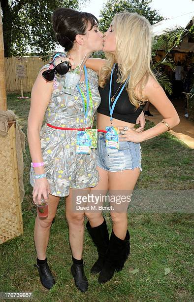 Gizzi Erskine and Laura Whitmore attend the Mahiki Coconut Backstage Bar during day 2 of V Festival 2013 at Hylands Park on August 18 2013 in...
