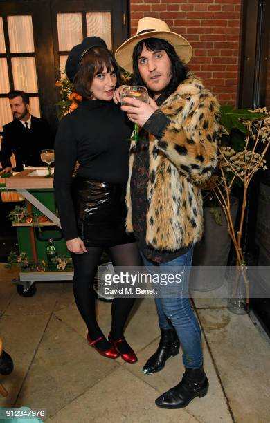 Gizzi Erskine and Noel Fielding attend the launch of The Tanqueray No TEN Table at Dalloway Terrace hosted by Gizzi Erskine on January 30 2018 in...