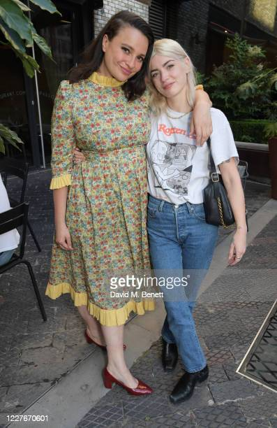 Gizzi Erskine and Sydney Lima attend the launch of Giz & Green Pizza Pies Pop-Up at Passo on July 17, 2020 in London, England.