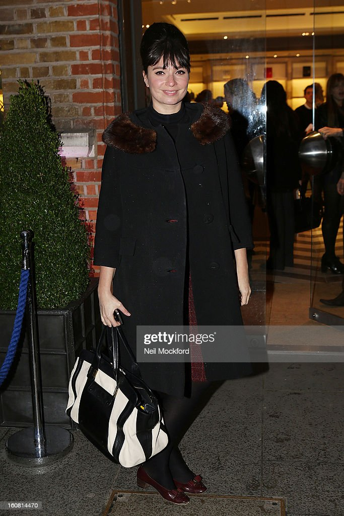 Gizzi Erskine attends the Smythson of Bond Street's afternoon tea party, celebrating the opening of their new Sloane Street store on February 6, 2013 in London, England.