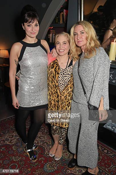 Gizzi Erskine Brix SmithStart and Meg Mathews attend Jo Wood's surprise birthday party at L'Escargot on April 17 2015 in London England