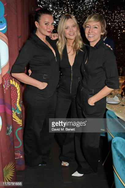 Gizzi Erskine Laura Whitmore and Jo Elvin attend a private dinner celebrating the launch of Donna Ida's 'Cassandra' jumpsuit at Black Roe on...