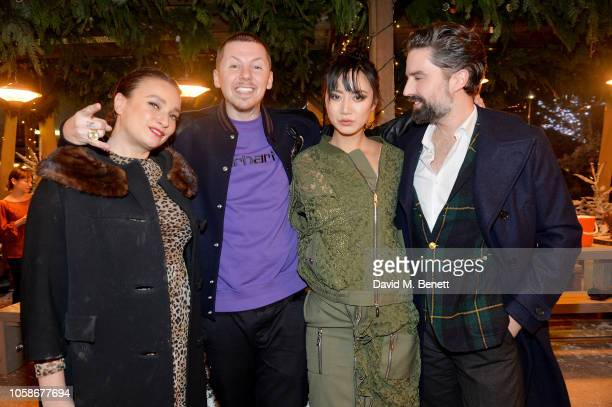 Gizzi Erskine Professor Green Betty Bachz and Jack Guinness attend the launch of The Winter Forest at Broadgate Circle on November 7 2018 in London...