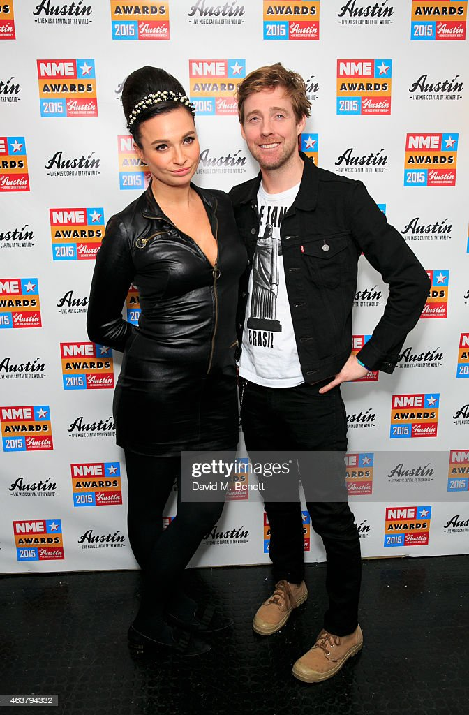 Gizzie Erskine and Ricky Wilson poses in the winner's room at the NME Awards at Brixton Academy on February 18, 2015 in London, England.