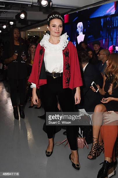 Gizzie Erskine attends the PPQ show in collaboration with Moda In Pelle Shoes during London Fashion Week at The Vinyl Factory on September 18 2015 in...
