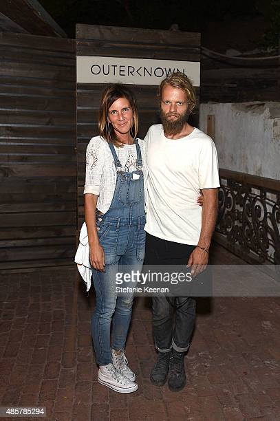 Gjelina Gjusta and Travis Lett attend Kelly Slater John Moore and Friends Celebrate the Launch of Outerknown at Private Residence on August 29 2015...