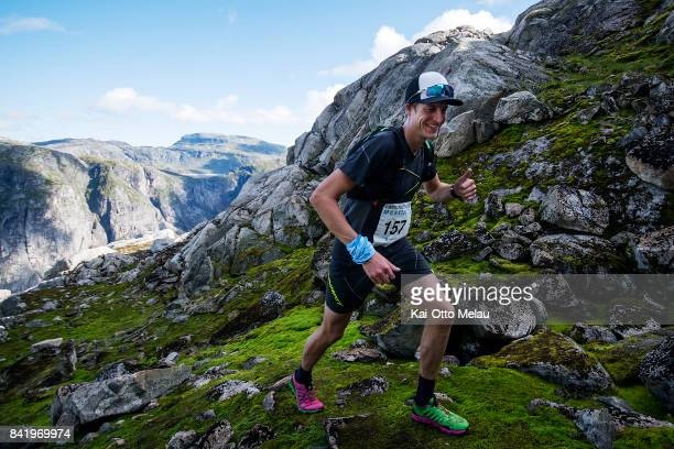 Gjermund Nordskar on the way up the first climb at Hardangervidda Marathon on September 2 2017 in Eidfjord Norway He later won the race this year...