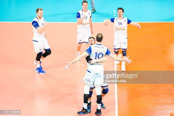Gjorgi Gjorgiev and Jose Luis Gonzalez of Paris celebrate during the Ligue B match between Paris Volley and St Nazaire at Stade Charlety on May 4...