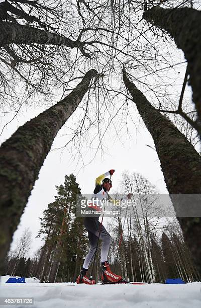 Gjorgji Icoski of Macedonia competes during the Men's 10km CrossCountry Qualification during the FIS Nordic World Ski Championships at the Lugnet...