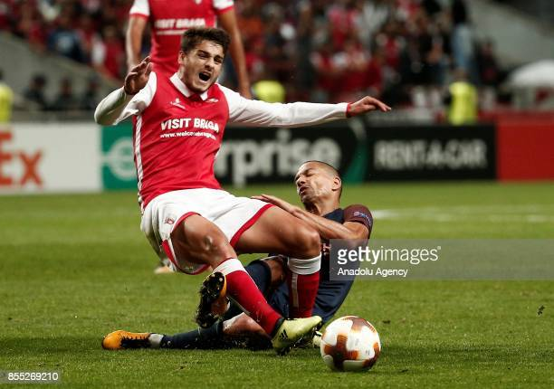 Gökhan Inler of Medipol Basaksehir in action against Bruno Xadas of Sporting Braga during the UEFA Europa League Group C match between Sporting Braga...