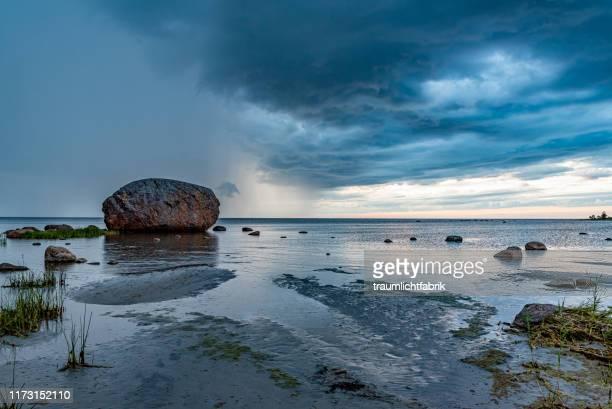 glacial erratic in estonia called ehalkivi - waterlijn stockfoto's en -beelden