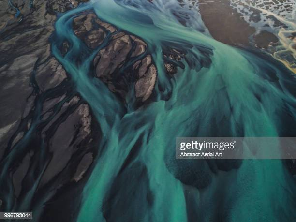 glacial flows, iceland - turquoise colored stock pictures, royalty-free photos & images