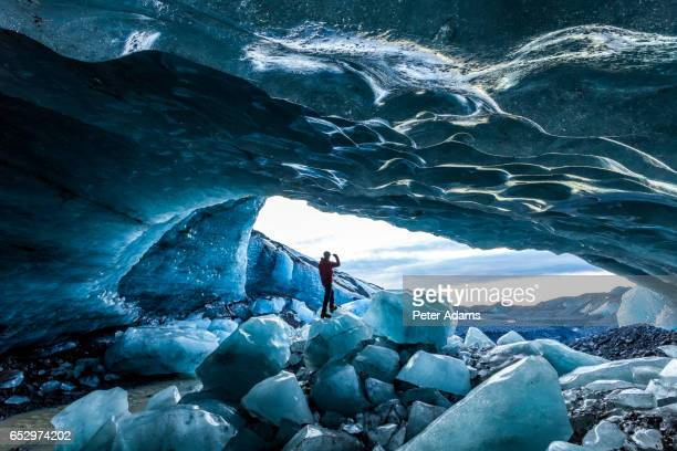 glacial ice cave, svinafellsjokull glacier, skaftafell national park, iceland - skaftafell national park stock photos and pictures