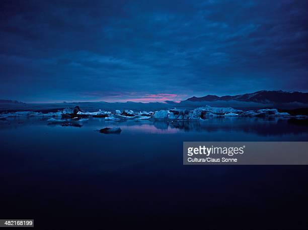 Glacial lake at night
