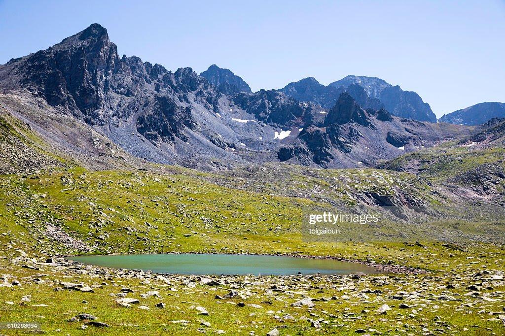 Glacial lake on the top of the Kackar Mountains : Stock Photo