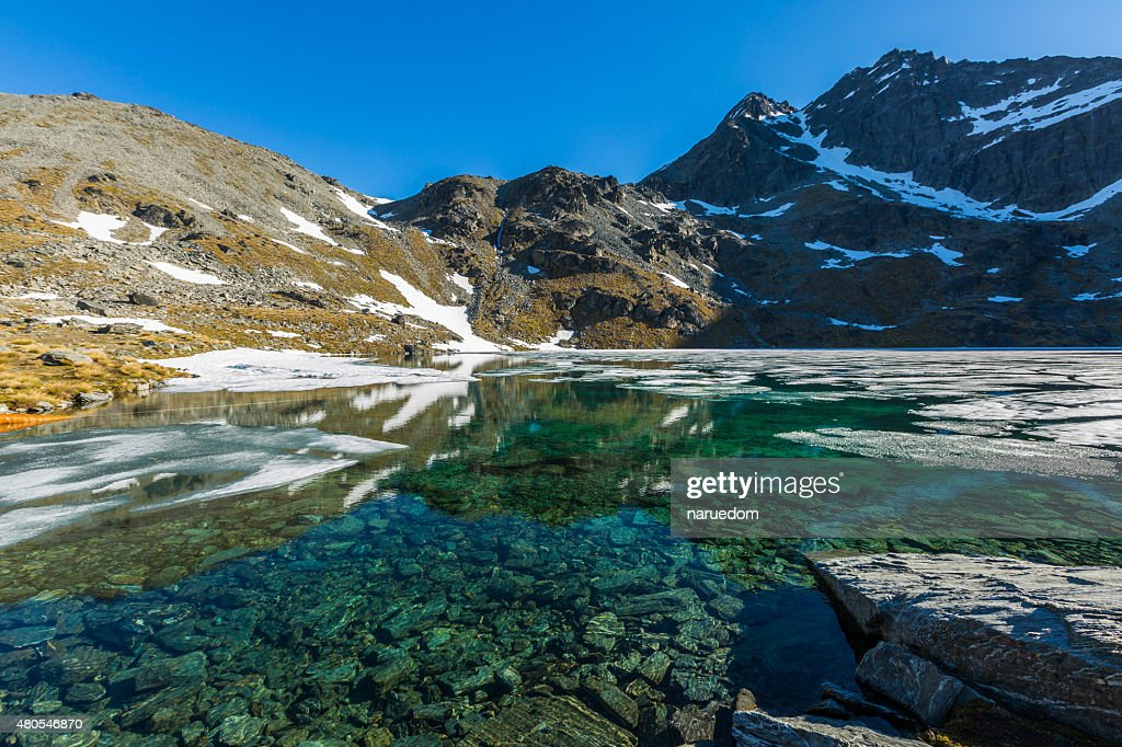 Glacial Lake on top of the mountain : Stock Photo