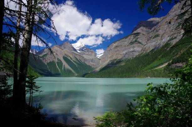 Glacial lake with high mountains in the background, Kenny Lake, Mount Robson, British Columbia, Canada