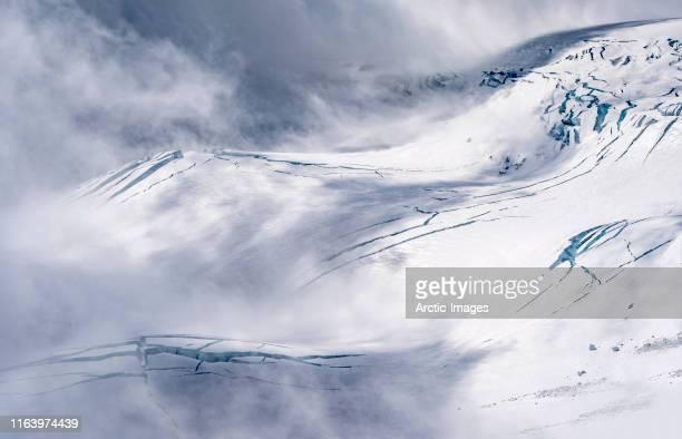 glacial landscapes, hvannadalshryggur mountain ridge, vatnajokull ice cap, iceland - arctic stock pictures, royalty-free photos & images