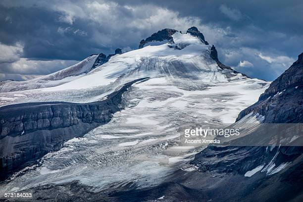 Glacial mountain and melting icefield, summertime