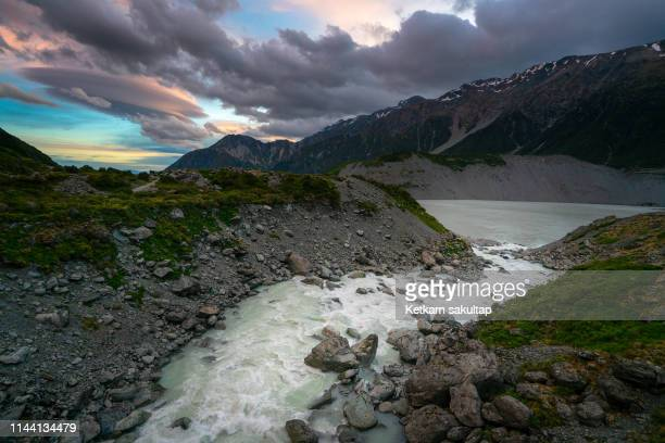 Glacial river and glacier lake in Hooker valley, mount cook national park, new zealand.