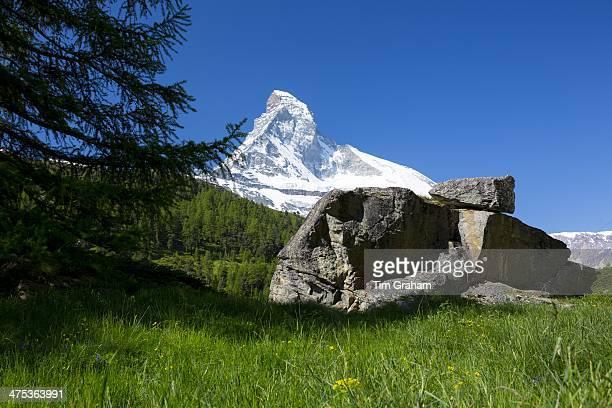 Glacial rock by the Matterhorn mountain in the Swiss Alps near Zermatt Switzerland