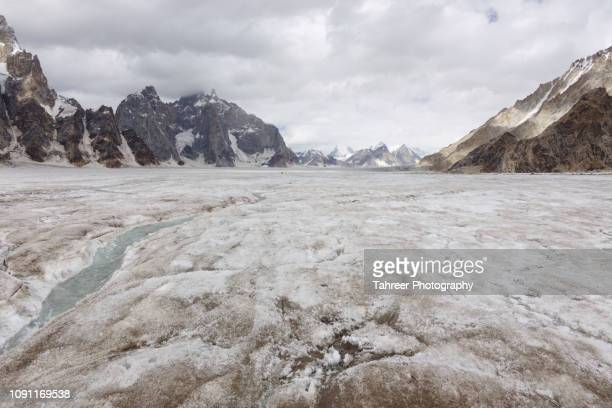 Glacial stream on glacier with mountains