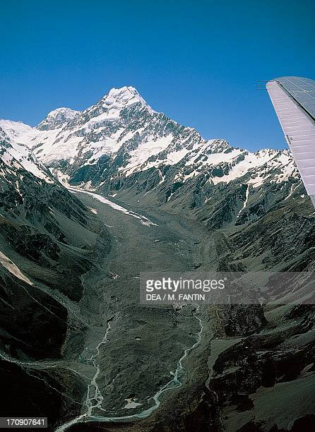 Glacial valley Mount Cook National Park South Island New Zealand Aerial