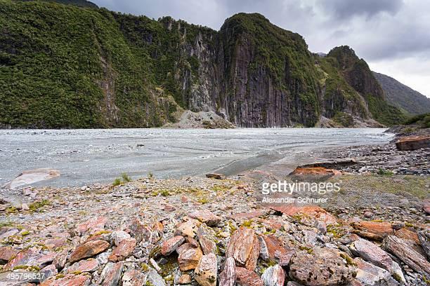 Glacial valley with abraded mountain edges of the Fox Glacier, Fox Glacier, Westland National Park, West Coast Region, New Zealand