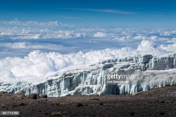 Glacier above cloud on the top of Uhuru peak, Mt.Kilimanjaro