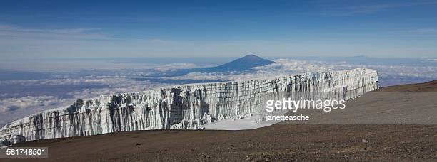 Glacier and Mount Meru seen from the summit of Mount Kilimanjaro, Tanzania