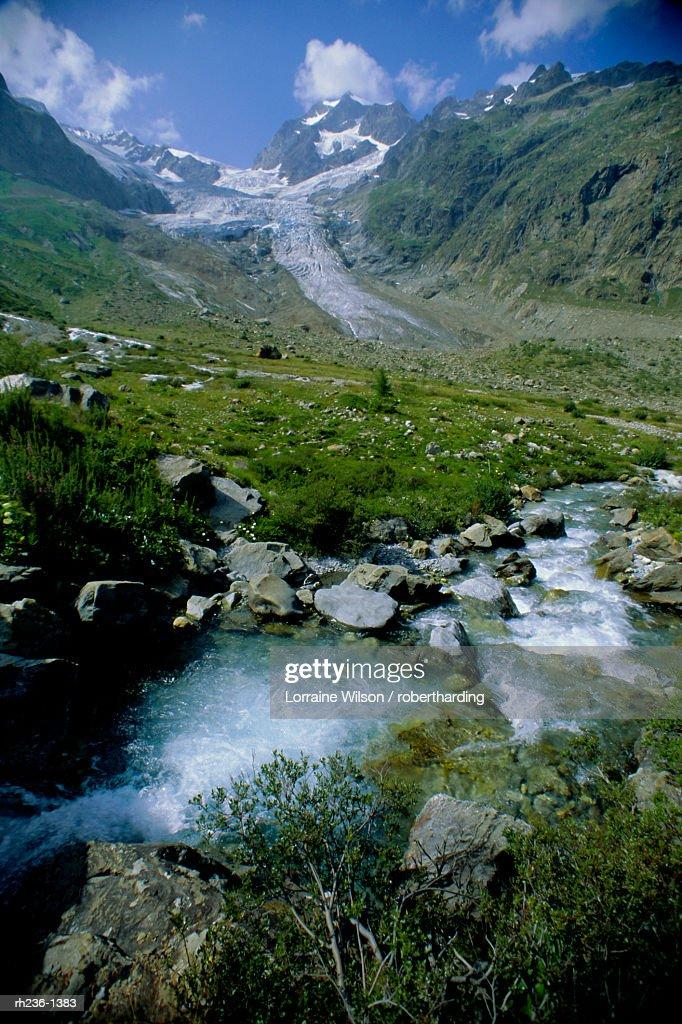 Glacier de la Lee Blanche, Val Veni, Italy, Europe : Foto de stock