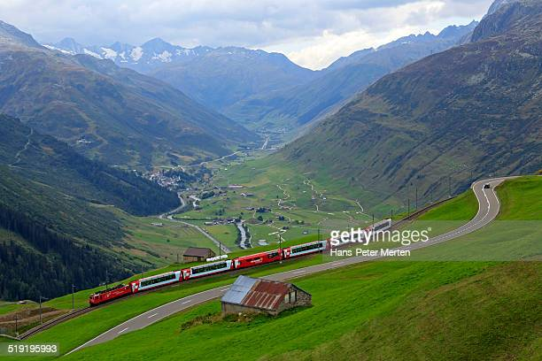 Glacier Express Railway at Oberalp Pass