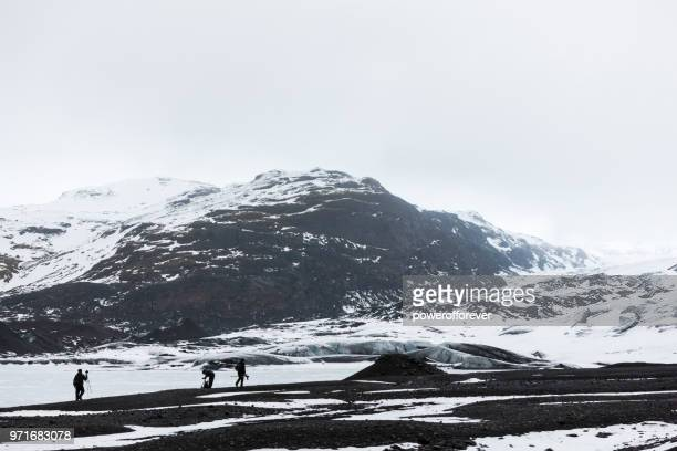 Gletscher-Wanderer am Gletscher Mýrdalsjökull in Island