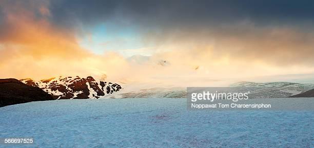 Glacier in Alaska during sunset
