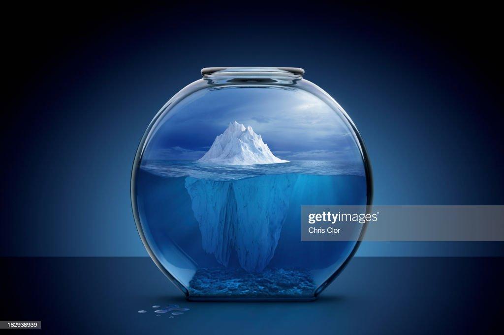 Glacier in fishbowl : Stock Photo