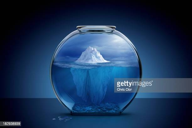 glacier in fishbowl - berg stock pictures, royalty-free photos & images