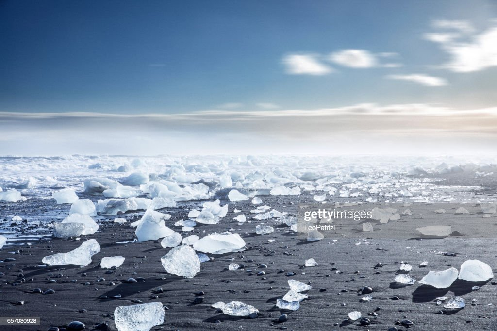 Glacier in Iceland - Blue icebergs floating in the lagoon : Stock Photo