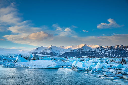 Glacier in Iceland - Blue icebergs floating in the lagoon 907634990
