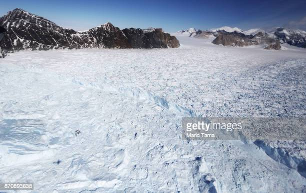 A glacier is seen from NASA's Operation IceBridge research aircraft in the Antarctic Peninsula region on October 31 above Antarctica NASA's Operation...