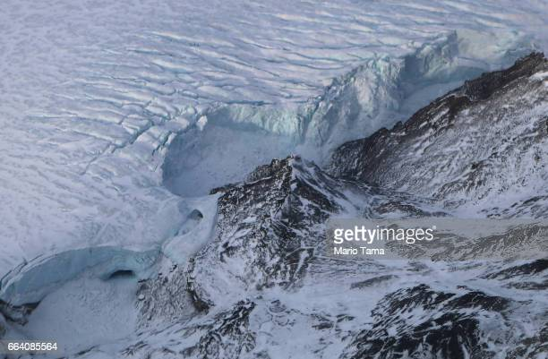 A glacier is seen from NASA's Operation IceBridge research aircraft on March 29 2017 above Ellesmere Island Canada The ice fields of Ellesmere Island...