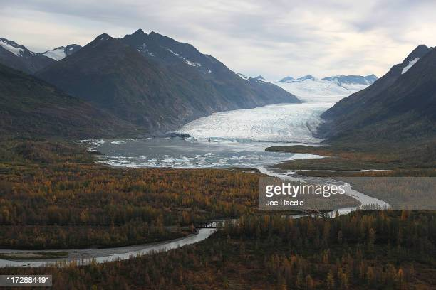 Glacier is seen in the Kenai Mountains on September 06, 2019 near Primrose, Alaska. Scientists from the U.S. Geological Survey have been studying the...