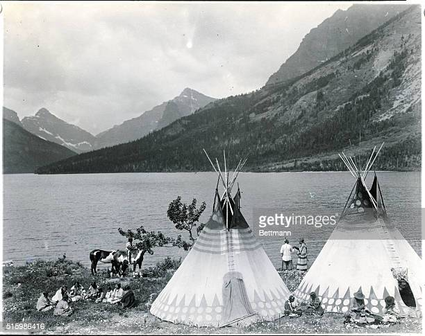 Glacier National Park MO On the Shore of Two Medicine Lake Blackfoot Indians